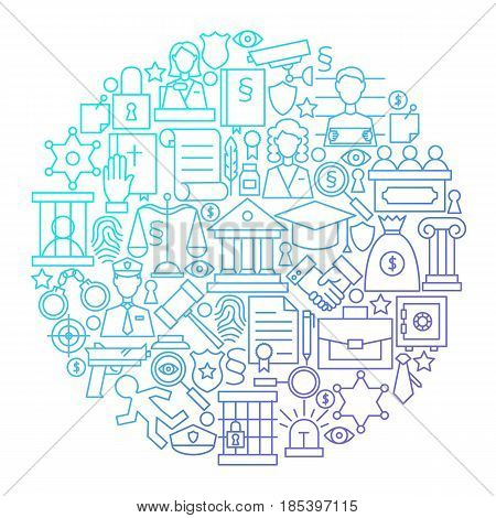 Law Line Icon Circle Design. Vector Illustration of Attorney and Lawyer Objects.