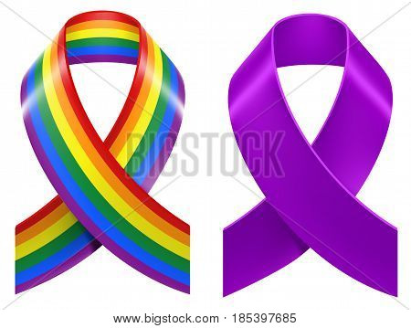 Symbols of LGBT rainbow Pride loop ribbon. Isolated on white vector illustration