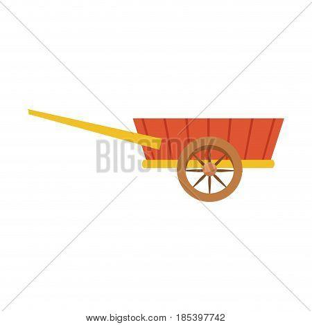 wheelbarrow wooden farm trasnport element vector illustration
