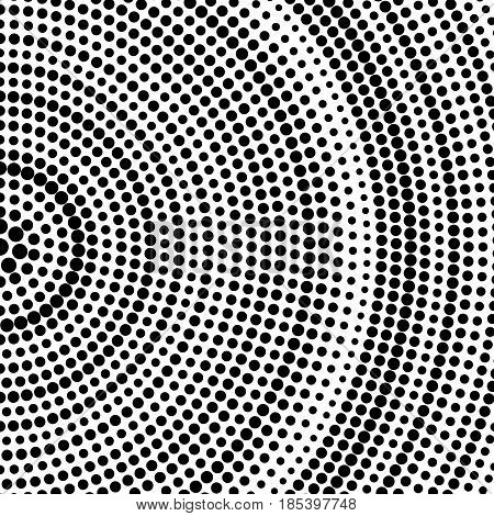 Abstract dotted halftone background. Radial pattern. Vector