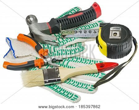 different Work tools on a white background