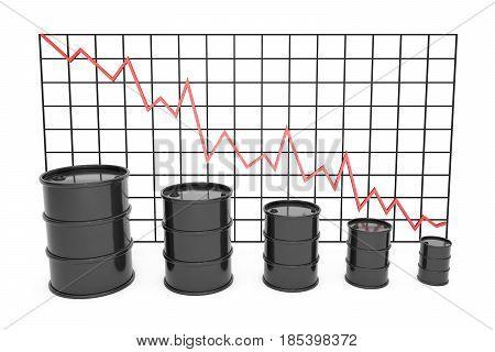 3d illustration: Black barrels of oil graph chart stock market  with red line arrow on a grid.  Petroleum business, black gold, gasoline production. Purchase sale, auction, exchange. Profit decrease.