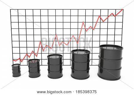 3d illustration: Black barrels of oil graph chart stock market  with red line arrow on a grid.  Petroleum business, black gold, gasoline production. Purchase sale, auction, exchange. Profit increase.