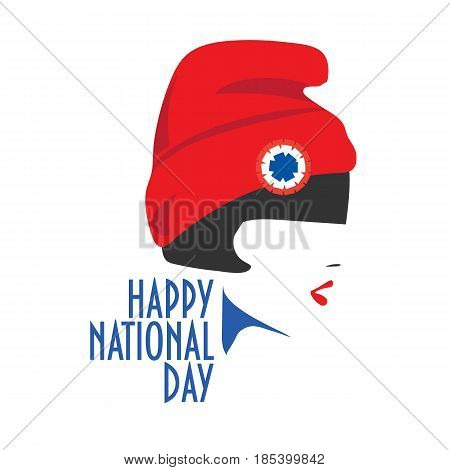 Minimalist National Day greeting card vector design: a girl with red hat and tricolor cockade on. Red hat is the Liberty cap, also known as the Phrygian cap, or pileus.