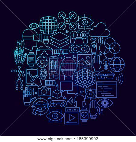 Virtual Reality Line Icon Circle Concept. Vector Illustration of Technology Augmented Reality Objects.
