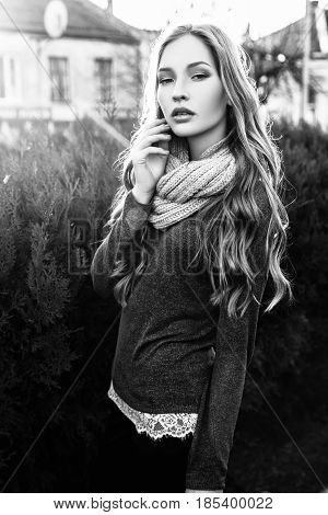 Gorgeous Fashionable Young Blonde Girl Street Portrait. Black And White