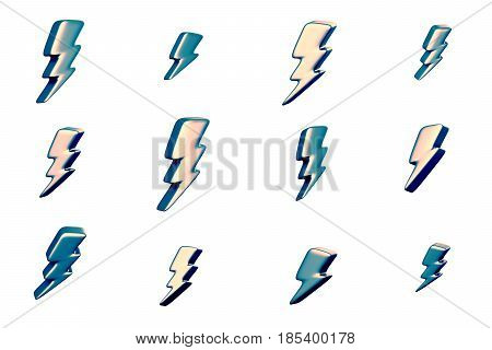 Illustration of lightning symbols. Abstract 3d redering. Background design for poster, banner, placard.