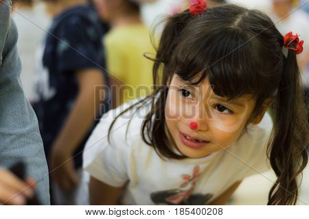 Eskisehir, Turkey - May 05, 2017: Preschool Little Girl With Brown Hair Enjoying Being With Her Frie