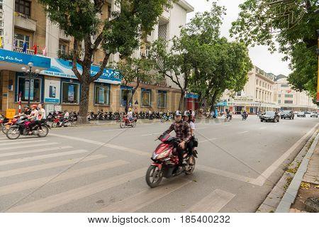 HANOI, VIETNAM - April 16, 2014 - Hanoi central square near Hoan Kiem lake