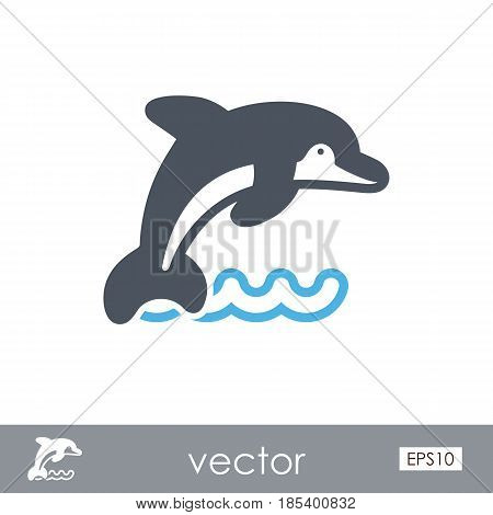 Dolphin outline vector icon. Beach. Summer. Summertime. Holiday. Vacation eps 10