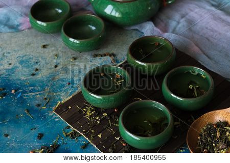 Fragrant green tea in traditional Chinese cups