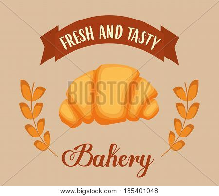 croissant and wheat earts. bakery products concept. colorful design. vector illustration