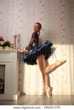 Ballet Dancer In Sun Light In Home Interior, Standing On One Leg.
