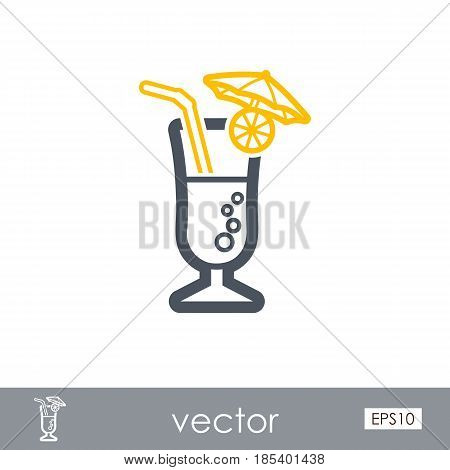 Cocktail outline vector icon. Beach. Summer. Summertime. Holiday. Vacation eps 10