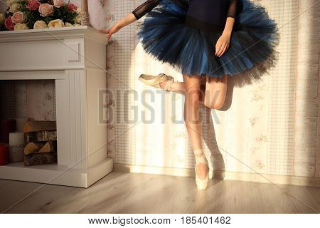 Unrecognizable Ballerina In Sun Light In Home Interior. Ballet Concept. Blue Tutu