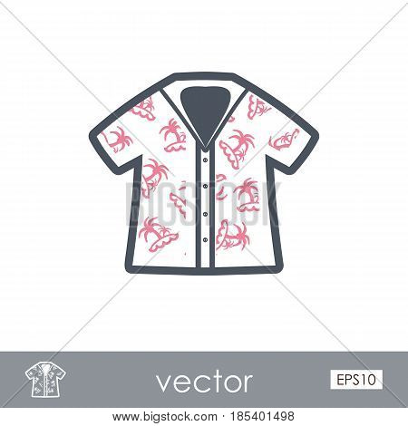 Hawaiian Shirt with palm tree outline vector icon. Beach. Summer. Summertime. Holiday. Vacation eps 10