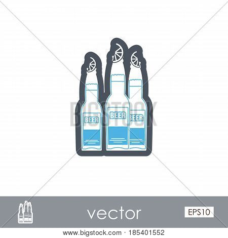 Beer bottle outline vector icon. Beach. Summer. Summertime. Holiday. Vacation eps 10