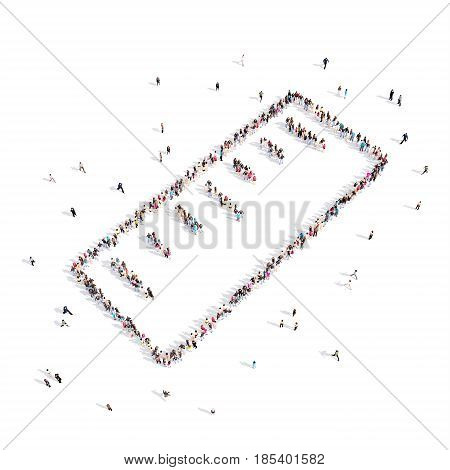 From above people walking and standing in Ruler emblem isolated on white .3D illustration. 3D rendering.