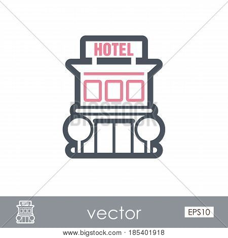 Hotel outline vector icon. Travel. Summer. Summertime. Holiday. Vacation eps 10