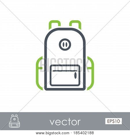 Backpack outline vector icon. Travel. Summer. Summertime. Holiday. Vacation eps 10