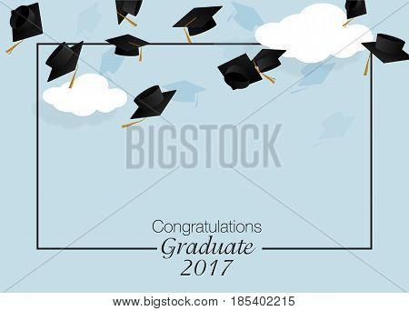 Congrats graduates. Graduate caps. Caps thrown up poster