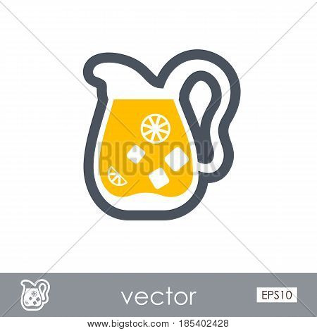 Jug of lemonade with slices of citrus and ice outline vector icon. Beach. Summer. Summertime. Holiday. Vacation eps 10