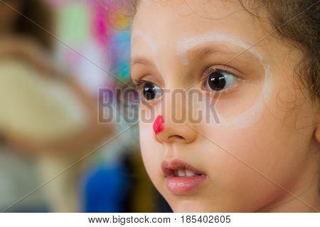 Eskisehir, Turkey - May 05, 2017: Portrait Of A Little Girl In Classroom.