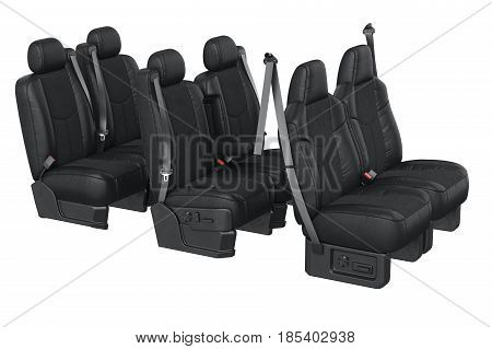 Car seat modern with safety belt. 3D rendering