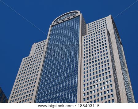 Dallas,USA, 07th May 2017. Architecture of the  Comerica Bank building in downtown Dallas against a blue sky.It is one of several in the 50-60 story range of height.