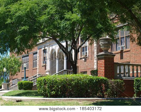 Dallas,USA,7th May 2017. The few remaining structures of a past era in architecture remains in North Dallas High School. The building is a masterpiece of free education's hallowed halls.