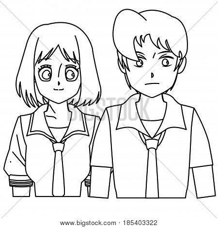 students girl and boy anime cartoon outline vector illustration