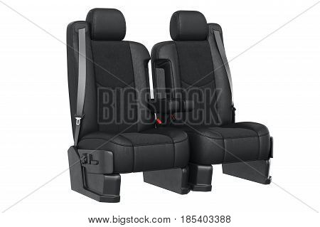Car seat luxury leather with seatbelt. 3D rendering