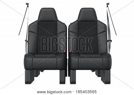Car seat black leather, front view. 3D rendering