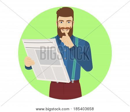 Hush hush. Hipster with newspaper showing hush-hush sign. Portrait of hipster character in a flat style. Vector illustration.