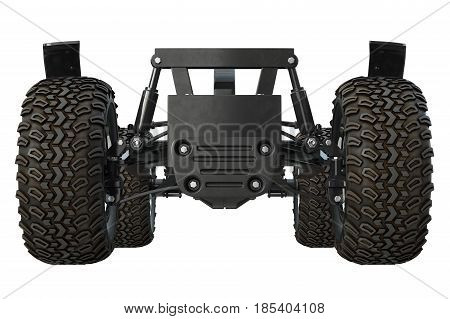 Car underbody and tires, front view. 3D rendering