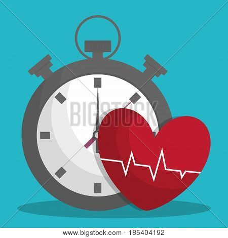 chronometer and cardio heart icon over turquoise background. fitness lifestyle concept. colorful design. vector illustration