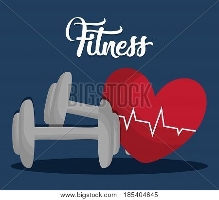 dumbbells and cardio heart icon over blue background. fitness lifestyle concept. colorful design. vector illustration