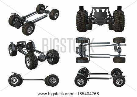 Car chassis frame with wheels set. 3D rendering
