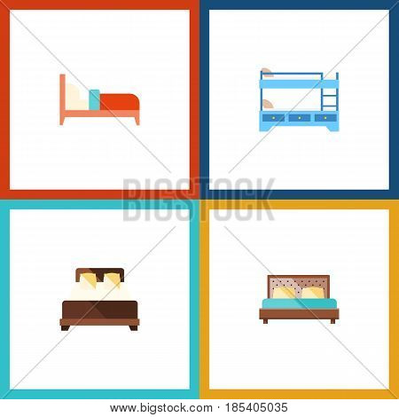 Flat Bed Set Of Bunk Bed, Mattress, Hostel And Other Vector Objects. Also Includes Hostel, Bearings, Bunk Elements.