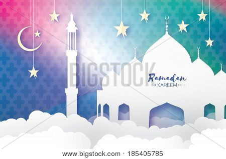 Ramadan Kareem. Arabic Mosque, clouds, white stars in paper cut style. Arabesque pattern. Crescent Moon. Holy month of muslim. Symbol of Islam. Origami Greeting card. Blue background. Vector