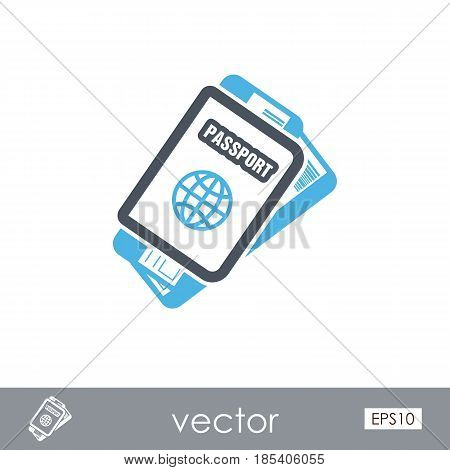 Passport with tickets outline vector icon. Travel. Summer. Summertime. Holiday. Vacation eps 10