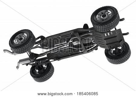 Chassis frame automobile underbody with wheel. 3D rendering