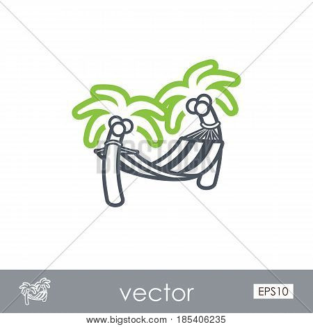 Hammock with palm trees on beach outline vector icon. Beach. Summer. Summertime. Holiday. Vacation eps 10
