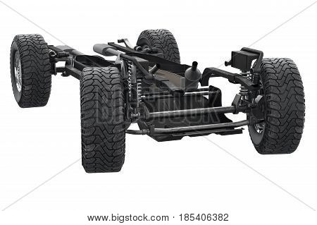Chassis frame with dirt rubber wheel. 3D rendering