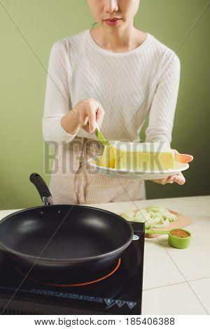 House Wife Wearing Apron Making. Steps Of Making Cooking Pancake.