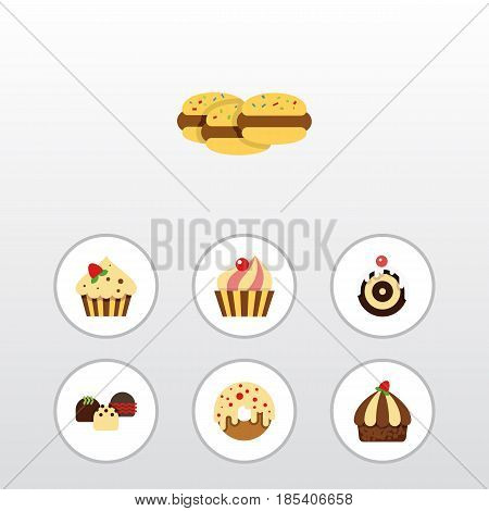 Flat Cake Set Of Sweetmeat, Pastry, Biscuit And Other Vector Objects. Also Includes Sweetmeat, Doughnut, Cupcake Elements.