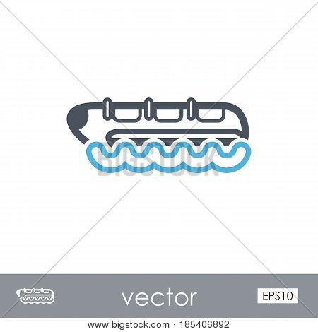 Yellow banana boat outline vector icon. Beach. Summer. Summertime. Holiday. Vacation ride water sport eps 10
