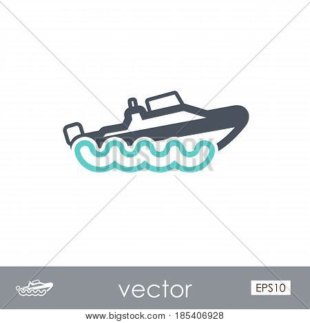 Speed boat outline vector icon. Travel. Summer. Summertime. Holiday. Vacation eps 10