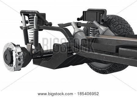 Chassis frame car axle bridge, close view. 3D rendering