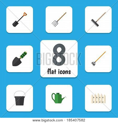 Flat  Set Of Harrow, Hay Fork, Tool And Other Vector Objects. Also Includes Watering, Spade, Pail Elements.